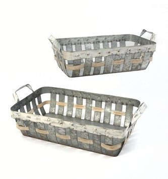 Whitewashed Woven Galvanized Tray (2 Sizes)