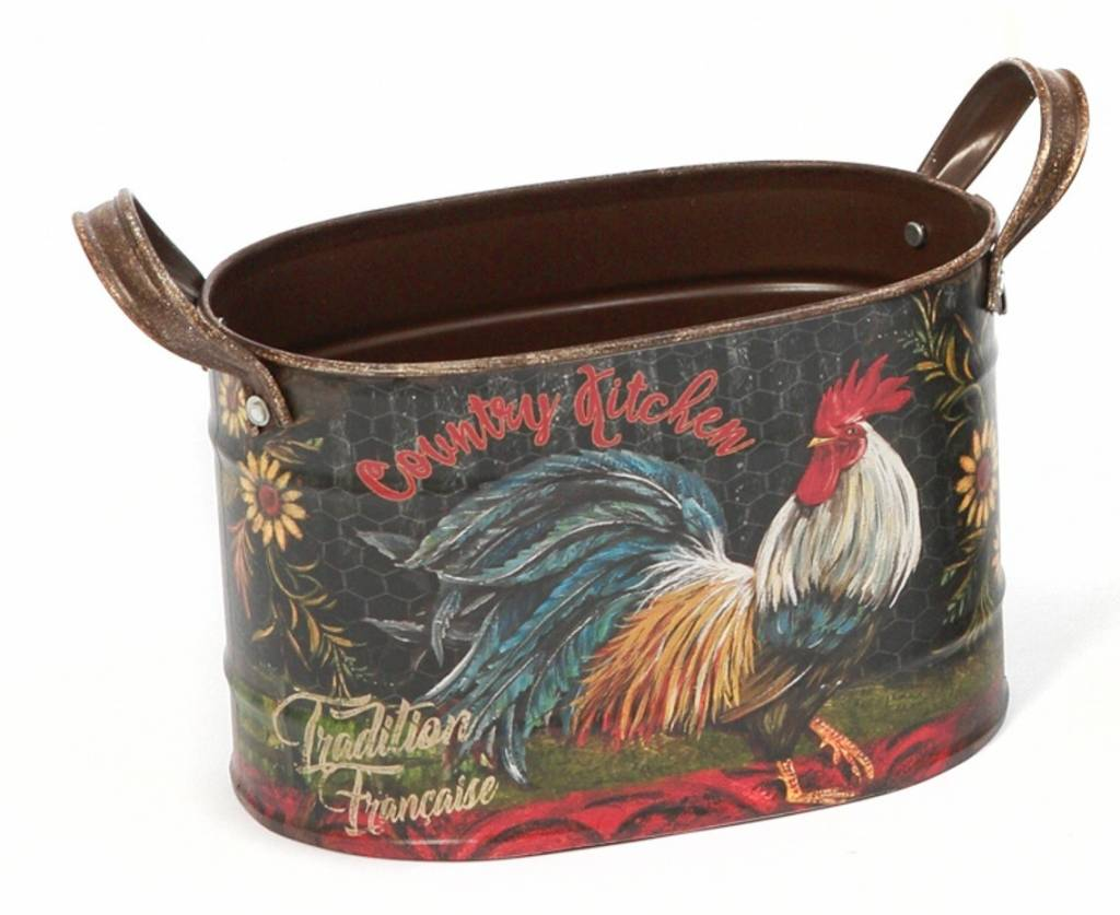 Country Kitchen Metal Rooster Pail (3 Sizes)