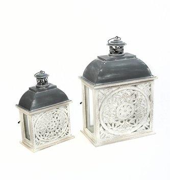 Whitewashed Medallion Lantern (2-Sizes)