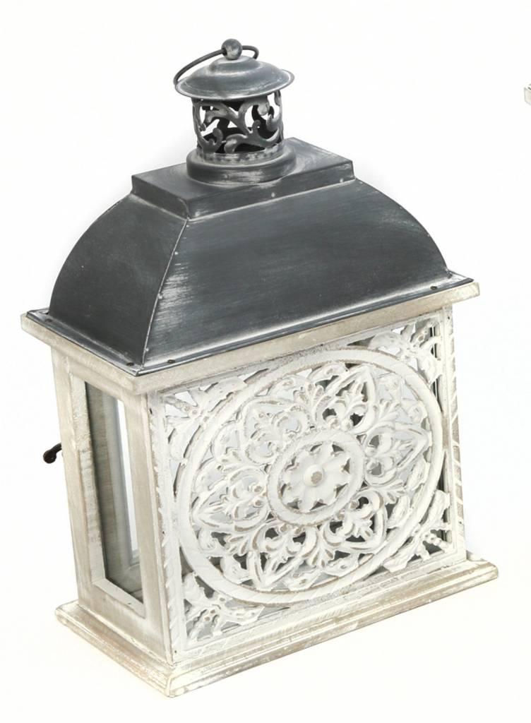 Whitewashed Medallion Lantern (2 Sizes)