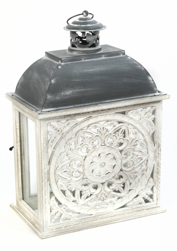Whitewashed Medallion Lantern (2-Sizes)