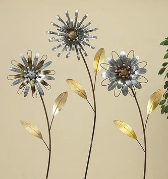 Large Galvanized Flower Yard Stake