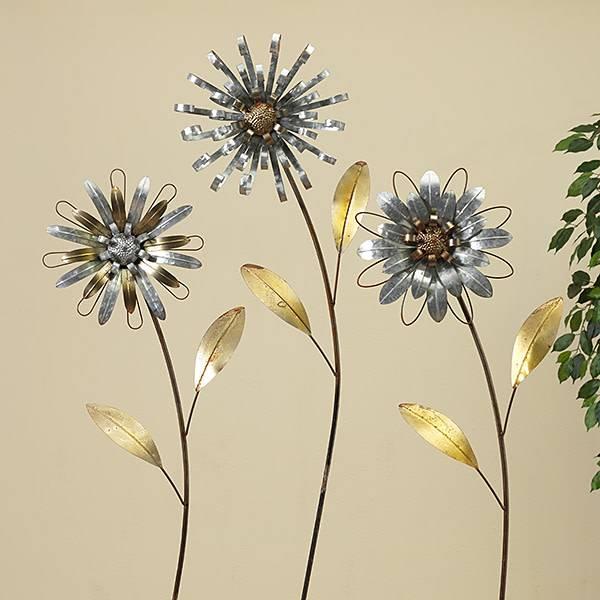 Large Galvanized Flower Yard Stake