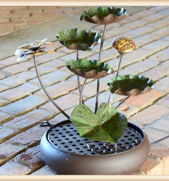 Painted Metal Lily Pad Fountain