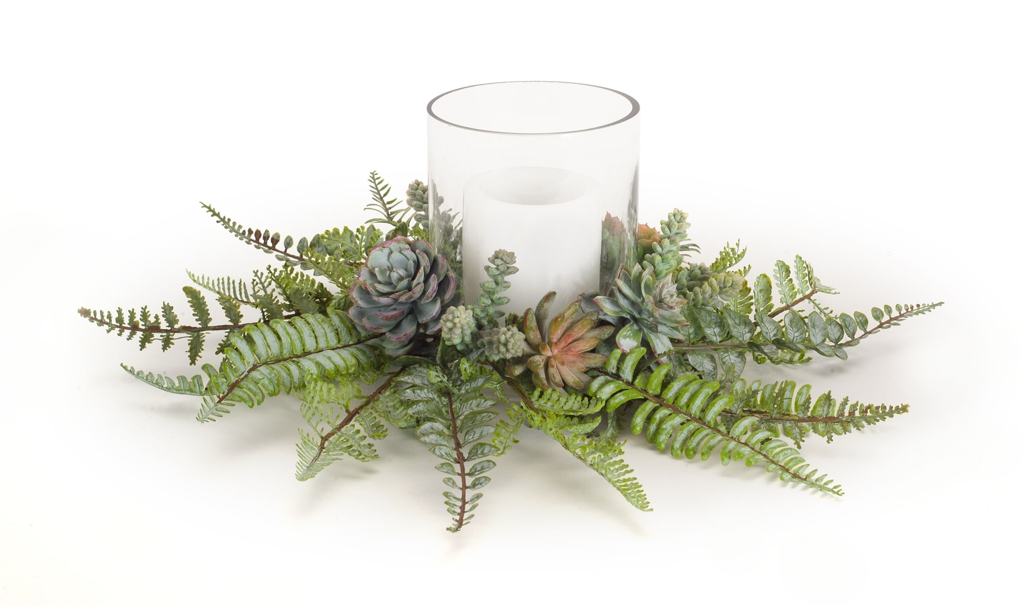 Fern & Succulent Glass Candle Holder