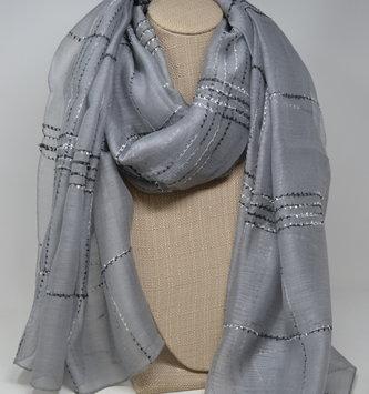 Gray Silk Blend Windowpane Scarf