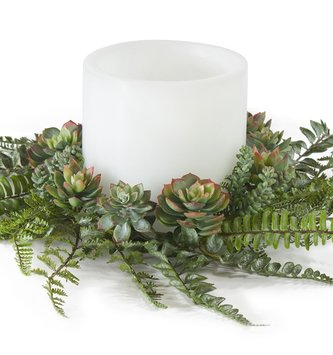 Fern and Succulent Candle Ring
