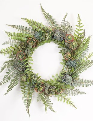 "24.5"" Fern and Succulent Wreath"