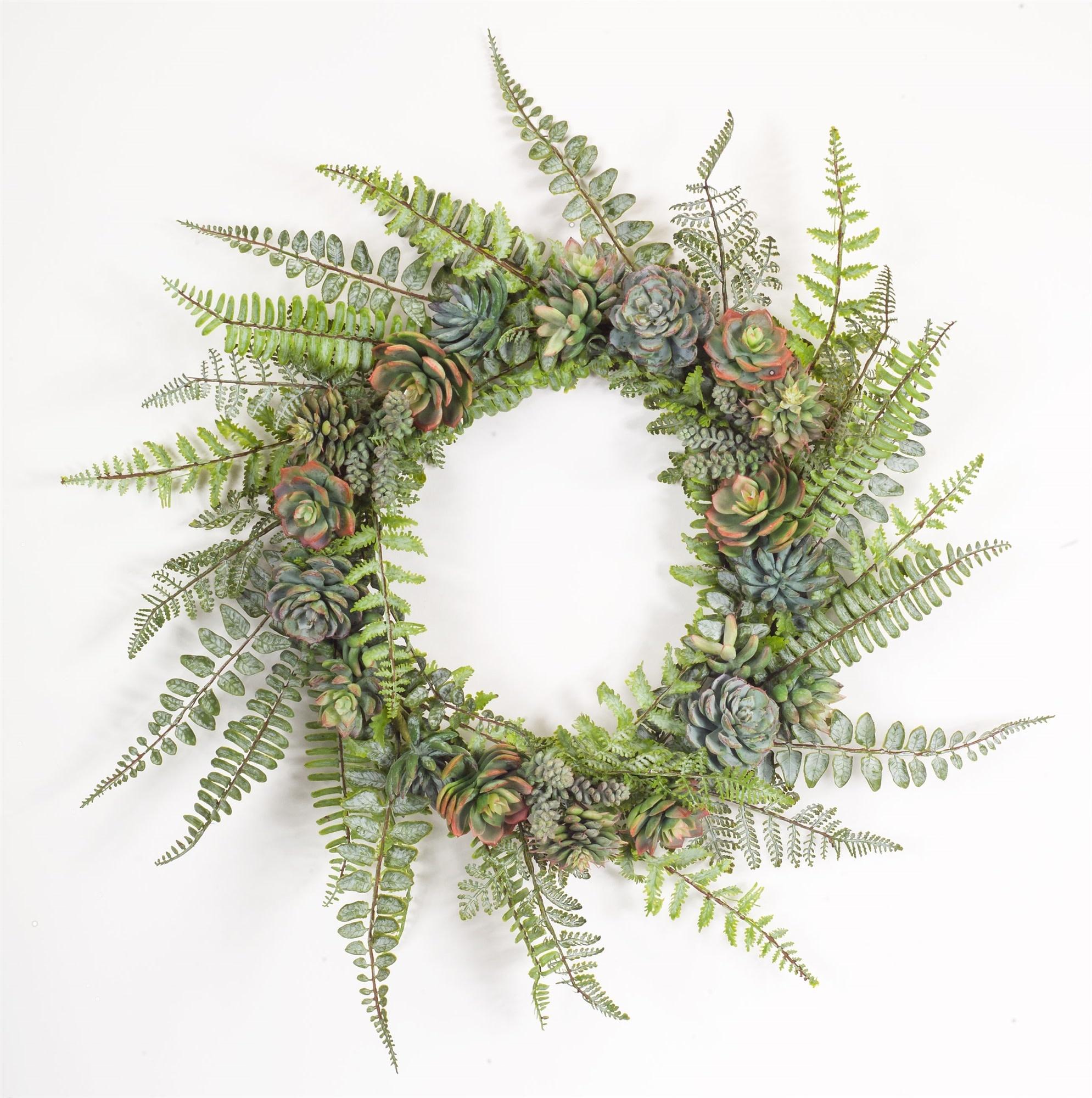 "24.5"" Fern and Succulent Wreath"