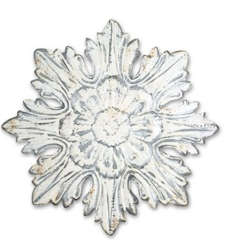 "29.5"" Whitewashed Metal Wall Decor"