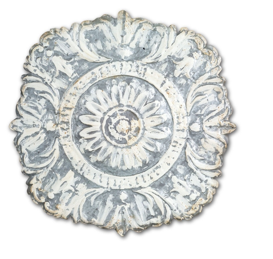 Whitewashed Metal Wall Medallion