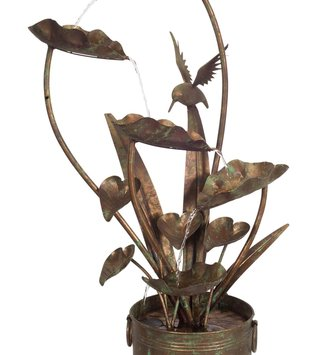 Metal Anthurium and Hummingbird Fountain