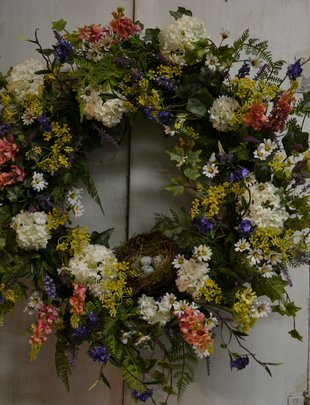 Custom Spirea and Snowball Nest Wreath