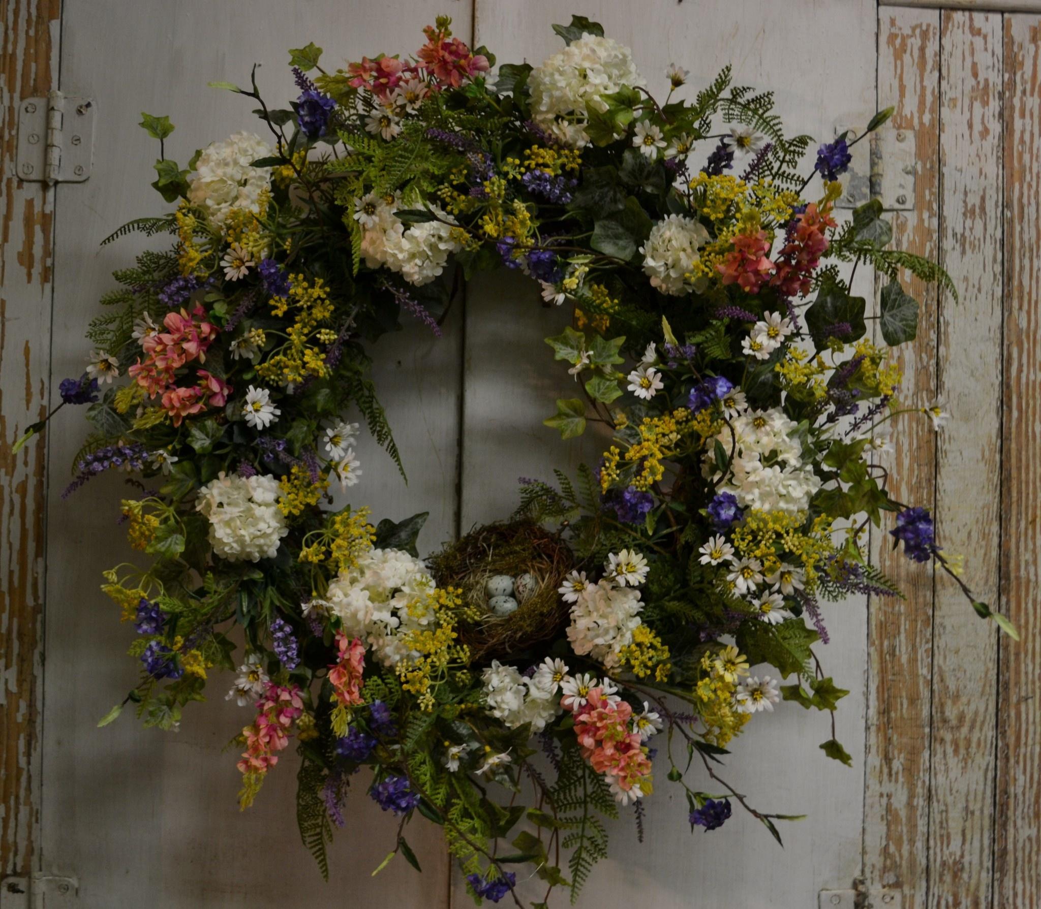 Custom Spirea and Snowball Nest Wreath