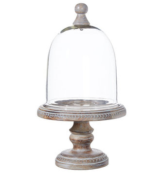 """17.5"""" Gray washed Pedestal with Dome"""