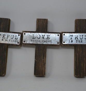 Inspirational Wooden Block Cross (3 Styles)
