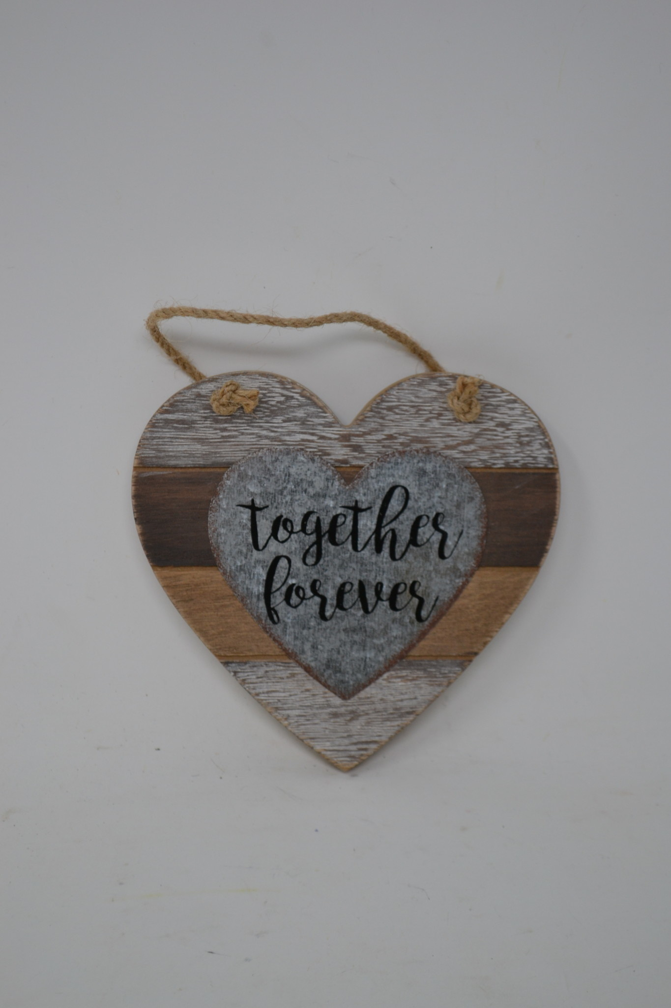 Hanging Striped Wooden Heart