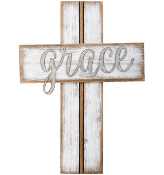 Whitewashed Grace Wooden Wall Cross