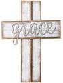 Whitewashed Grace Wooden Wall Cross