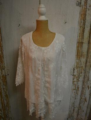 White Botanical Lace Tunic w/ Sheer Overlay