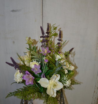 Custom Spring Lavender and Helleborus Arrangement