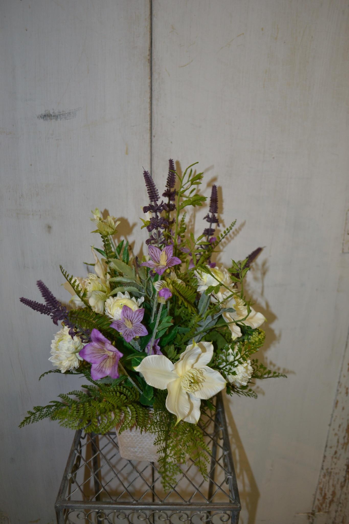Custom Spring Lavender and Helleborus Arrangement