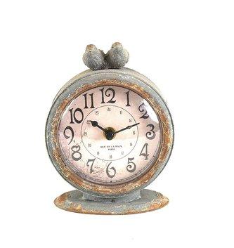 Gray Distressed Double Bird Clock