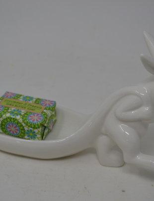 Ceramic Bunny Carrying Leaf Dish