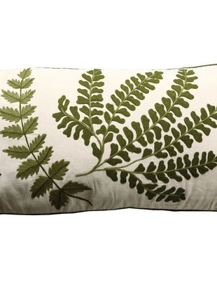 Embroidered Mixed Fern Pillow