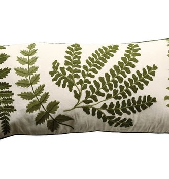 Rectangular Mixed Fern Embroidered Pillow