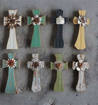 Painted Wooden Wall Cross