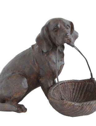 Sitting Dog with Basket