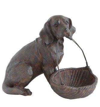 Sitting Dog with Basket