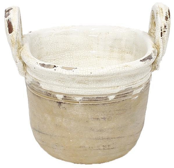 Two-Tone Handled Crackle Container