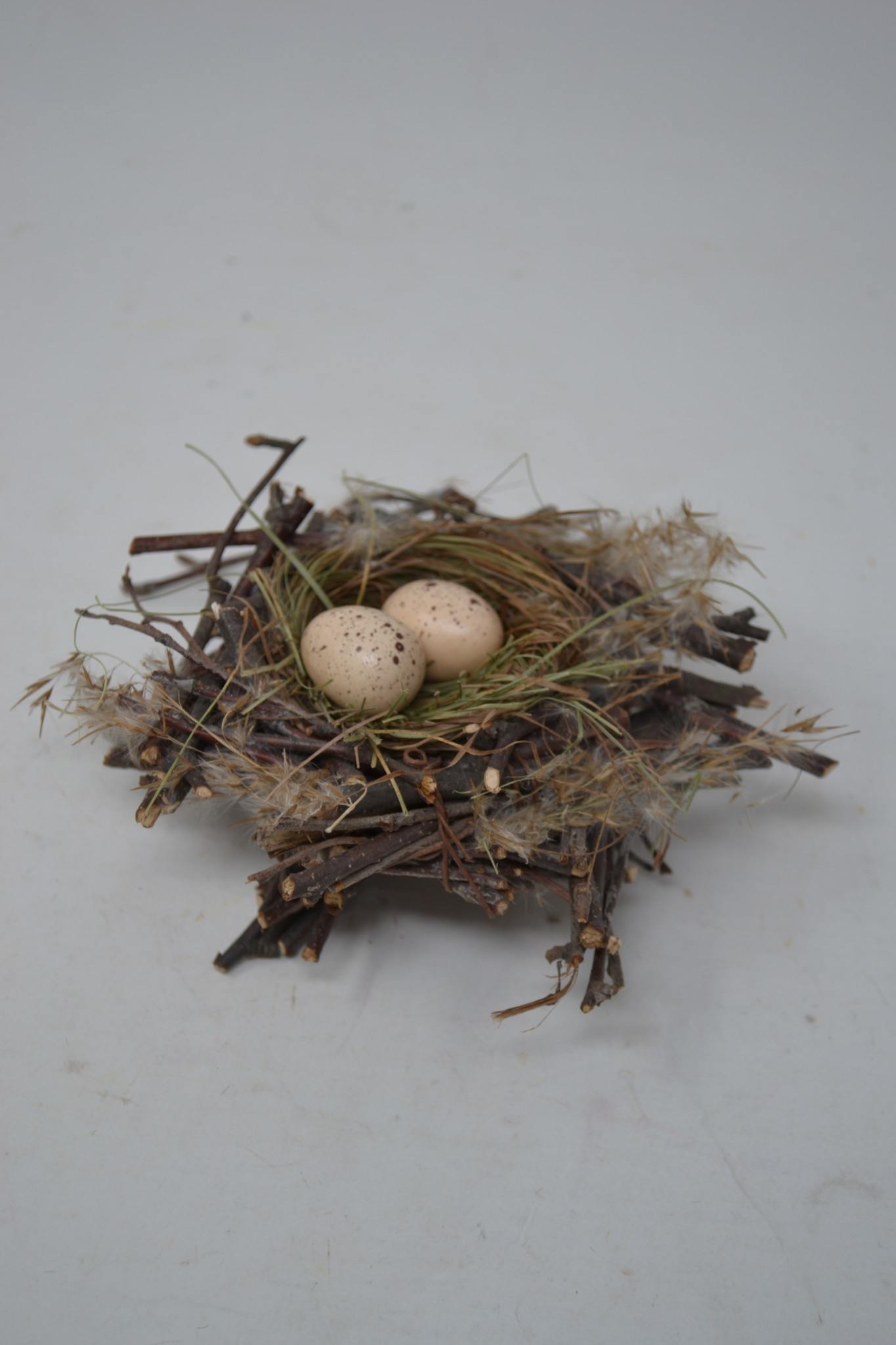 Twig Feathered Nest w/ Eggs