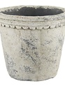Scalloped Trim Distressed Pot