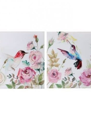 Hummingbird & Rose Floral Canvas Print
