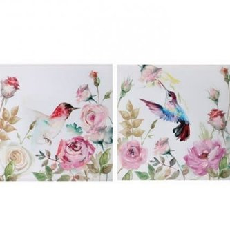 Hummingbird & Rose Floral Canvas Print