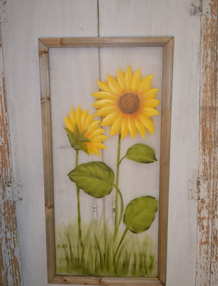 Painted Sunflower on Screen Art (2 Styles)