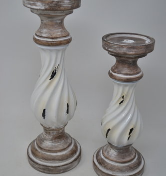 Distressed Cream Enamel Candlestick (3 Sizes)