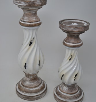 Distressed Cream Enamel Candlestick (2 Sizes)