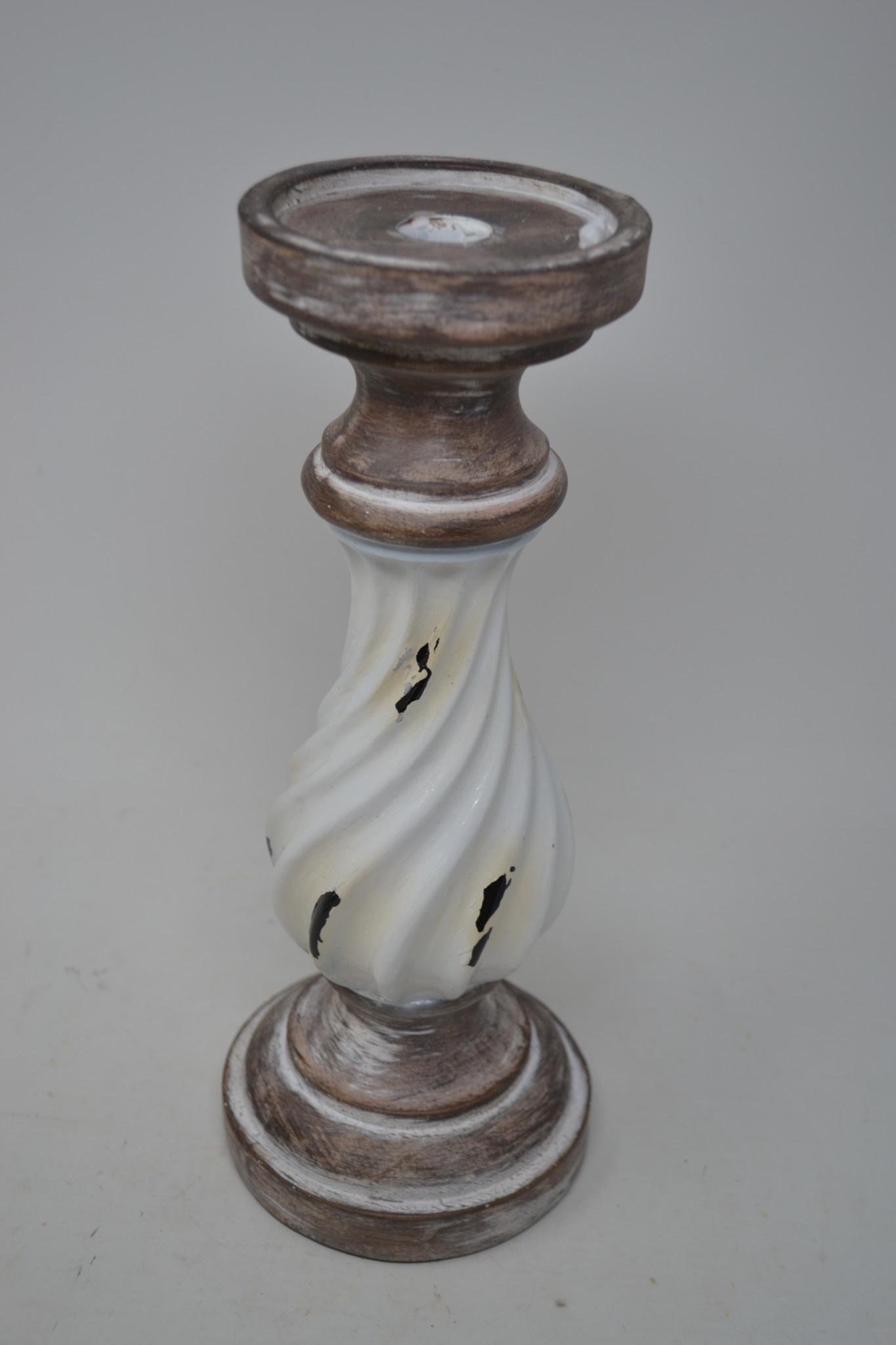 Distressed Cream Enamel Candlestick