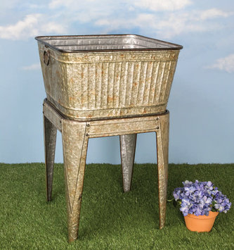 Large Galvanized Rustic Wash Bin