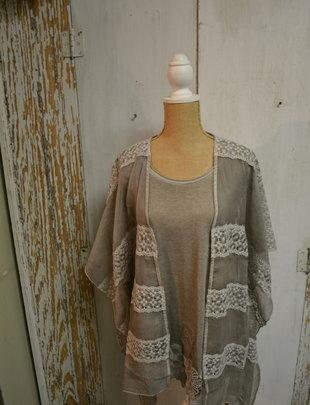 Gray Blooming Lace Sheer Kimono