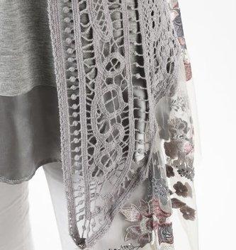 Crochet Vest w/ Floral Embroidered Lace Trim (2 Colors)
