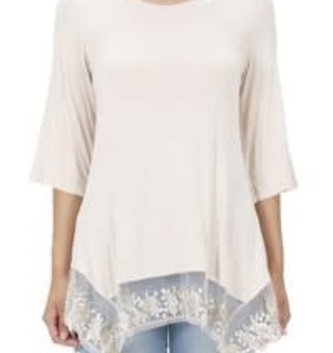 Layering Tunic with Floral Embroidered Lace (2 Colors)