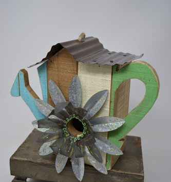 Whimsical Watering Can Birdhouse