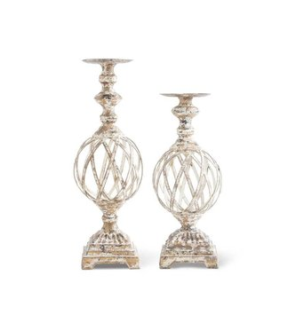 Gold Washed Woven Metal Candlestick (2 Sizes)