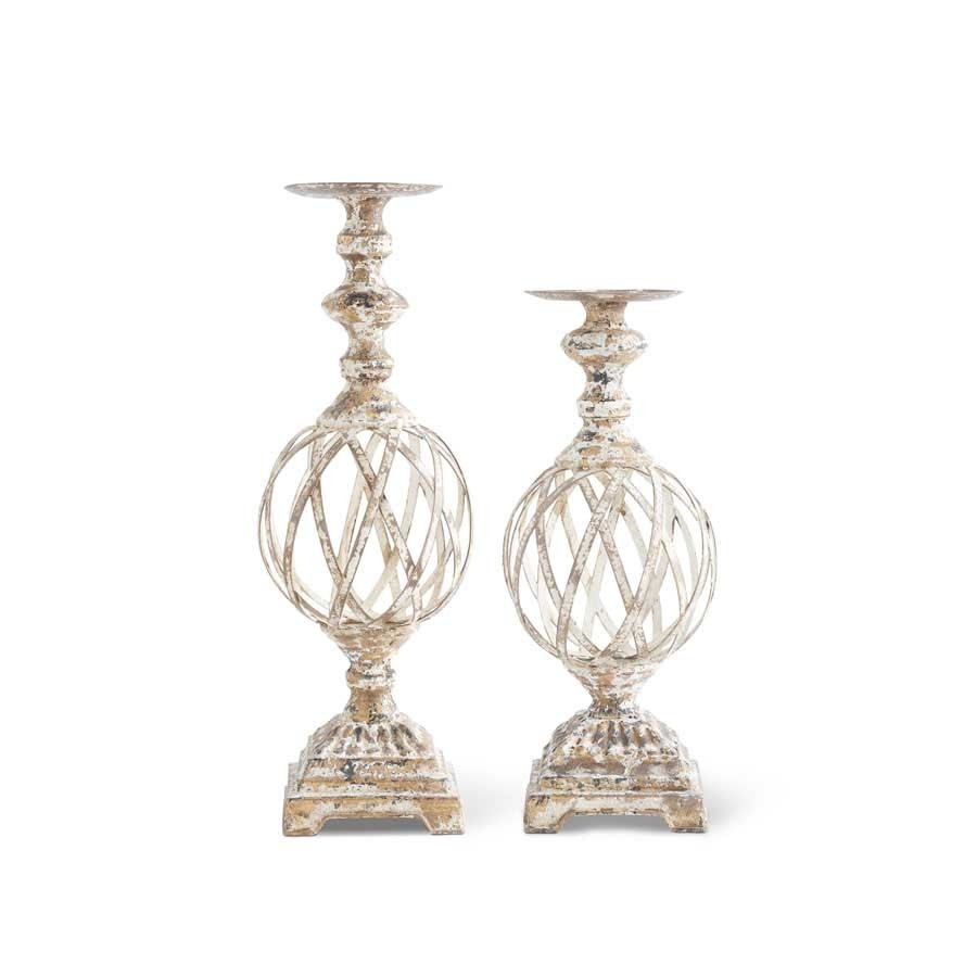Gold Washed Woven Metal Candlestick
