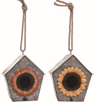 Galvanized Sunflower Birdhouse